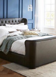 Brussels Black Bonded Leather Bed Frame 6'0 Super king