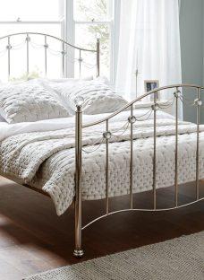 Annette K Metal Bed Nickel (Sprung Slats) 5'0 King SILVER