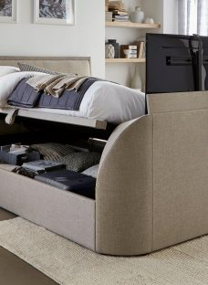 Alexander Oatmeal Fabric Tv Ottoman Bed Frame 5'0 King BEIGE