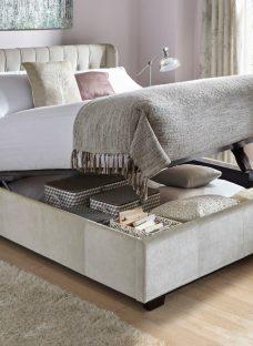 Sana Pearl Fabric Ottoman Bed Frame 5'0 King