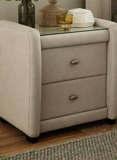 Deacon 2 Drawer Bedside Chest Cream Fabric