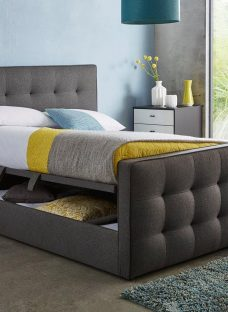 Cavill Slate Grey Fabric Ottoman Bed Frame 6'0 Super king