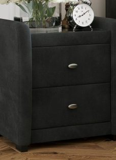 Deacon 2 Drawer Bedside Chest Grey Fabric