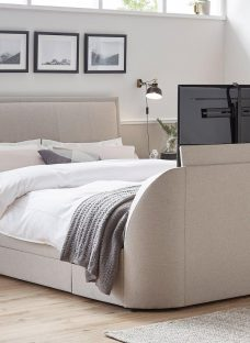 Alexander Oatmeal Fabric Tv & Sound Bed Frame 4'6 Double BEIGE