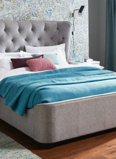Wells Sk Grey Fabric Bed (Sprung Slats) 6'0 Super king