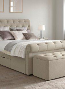 Langford Upholstered Bed Frame 5'0 King BEIGE