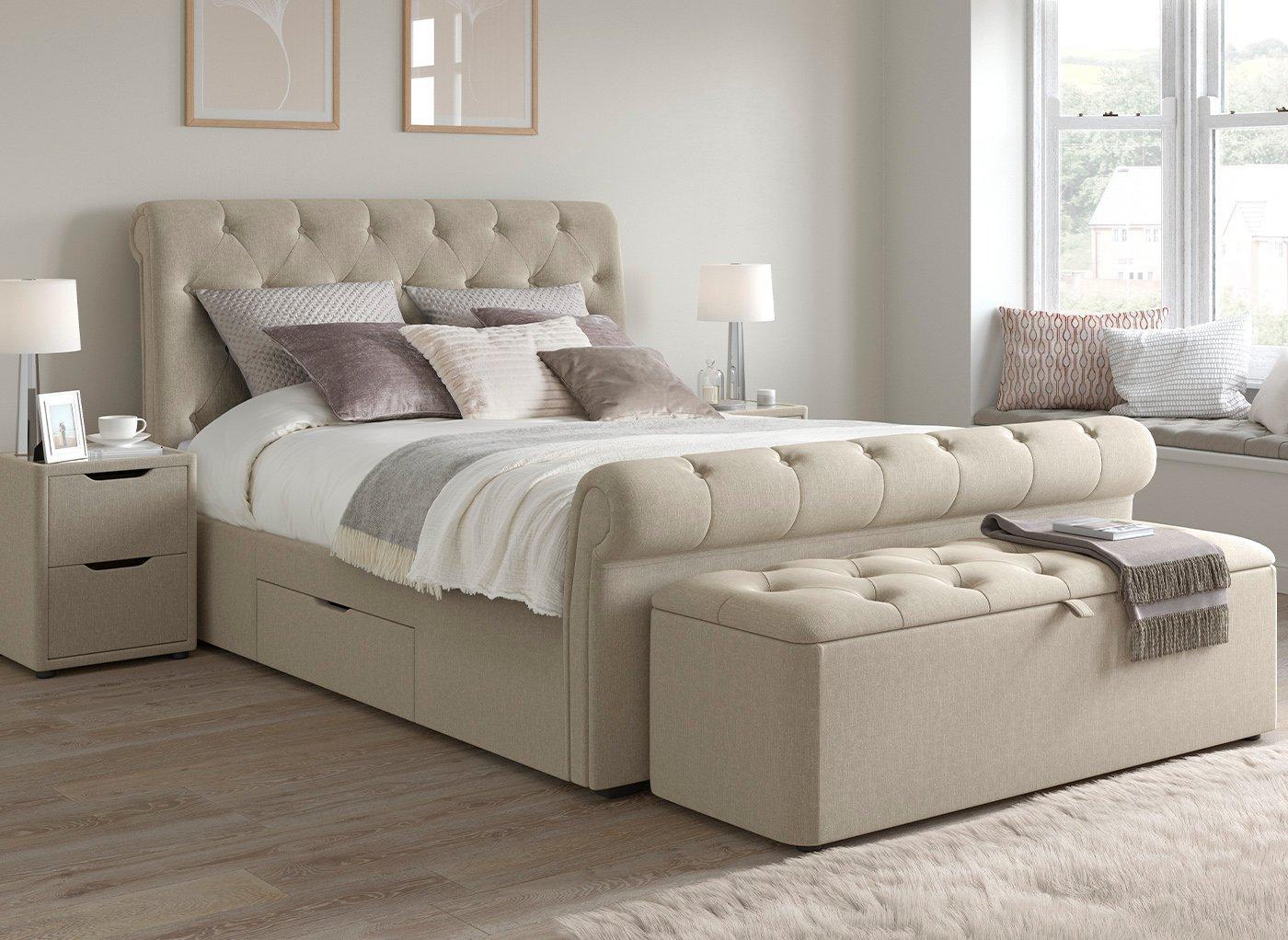 Langford Upholstered Bed Frame 5 0 King Beige Bed Sava