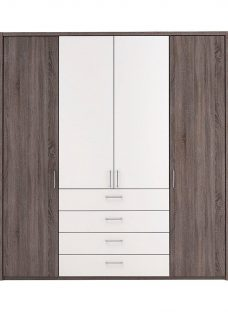 Melbourne 4 Door Wardrobe - Oak & White