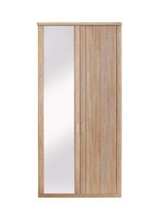 Florida 2 Door Wardrobe With 1 Mirrored Door CREAM