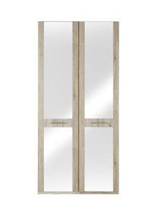 Samara 2 Door Wardrobe With Mirrors - Oak BROWN