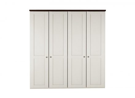 Sloane 4 Door Wardrobe - Champagne and Dark Wood CREAM