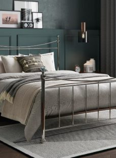 Lizzie SD Nickel Bed (Solid Slats) 4'0 Small double SILVER