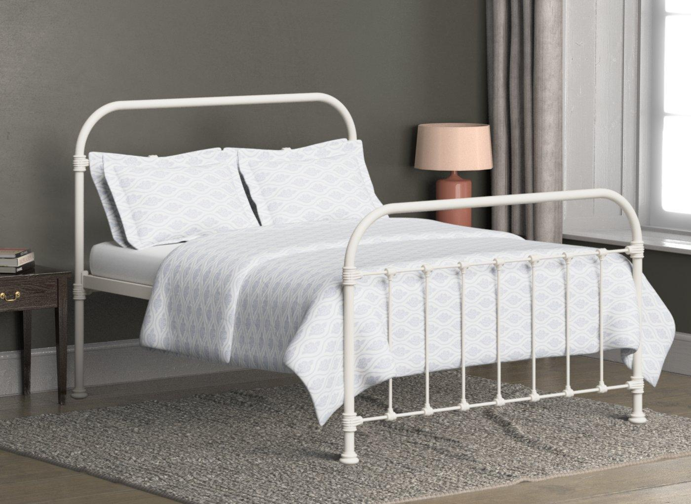 Timolin Ivory Metal Bed Frame 4 6 Double Cream Bed Sava