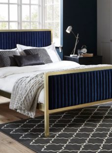 Addison Gold And Blue Metal Bed Frame 4'6 Double