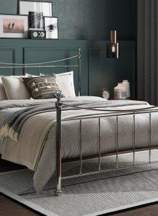 Lizzie D Nickel Bed (Sprung Slats) 4'6 Double SILVER