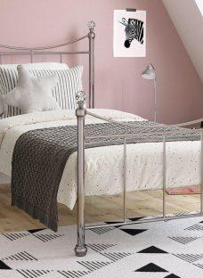 Lizzie S Nickel Bed (Sprung Slats) 3'0 Single SILVER