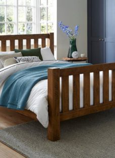Moore Pine Wooden Bed Frame 4'6 Double BROWN