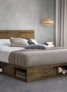 Wilkes Wooden Storage Bed Frame 4'6 Double BROWN