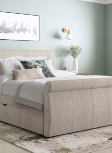 Lucia Silver Fabric Upholstered Bed Frame 4'6 Double