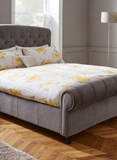 Ellis Dark Grey Velvet Finish Bed Frame 4'6 Double