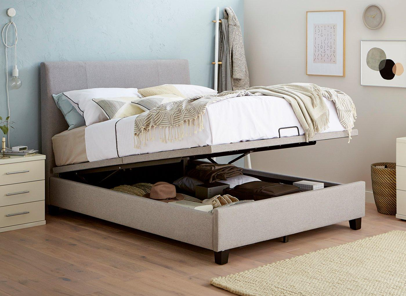 Picture of: Francis S Grey Fabric Ottoman Manual Lift 3 0 Single Bed Sava
