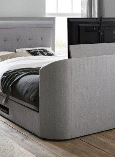 Tokyo D Tv/Media Bed Grey Fabric 4'6 Double