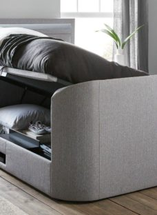 Tokyo SK Otto TV/Media Bed Grey Fabric SMART TV 6'0 Super king