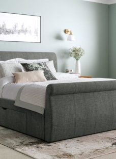 Lucia Grey Fabric Upholstered Bed Frame 4'0 Small double