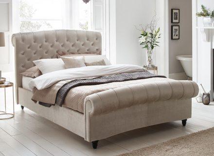 Ellis Pearl Velvet Finish Bed Frame 4'6 Double BEIGE