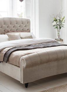 Ellis Pearl Velvet Finish Bed Frame 6'0 Super king BEIGE