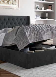 Deacon Upholstered Ottoman Bed Frame 5'0 King GREY