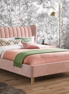 Knox Upholstered Bed Frame 6'0 Super king PINK