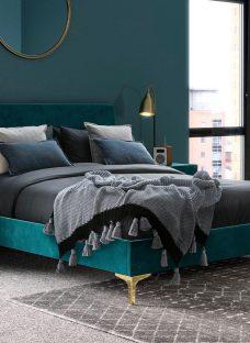 Prestwood Velvet Upholstered Bed Frame 4'6 Double