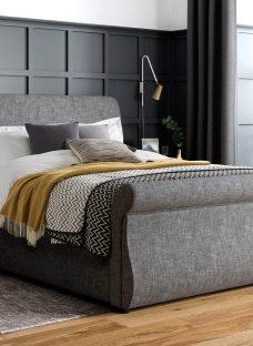 Detroit SK Grey Fabric Drawer Bed (Solid Slats) 6'0 Super king