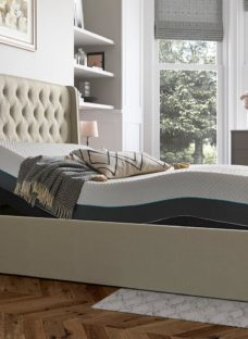Deacon Sleepmotion 200i Adjustable Upholstered Bed Frame 4'6 Double CREAM
