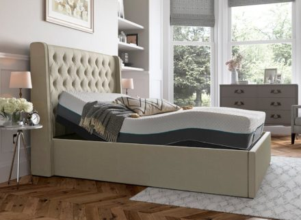 Deacon Sleepmotion 200i Adjustable Upholstered Bed Frame 4'6 Double CREAM