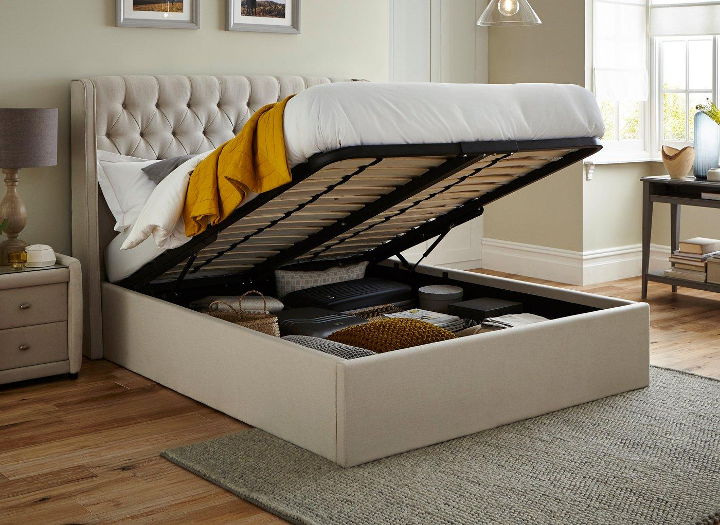 Deacon Upholstered Ottoman Bed Frame 5 0 King Cream Bed Sava