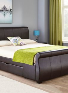 Lucia Brown Faux Leather Upholstered Bed Frame 5'0 King
