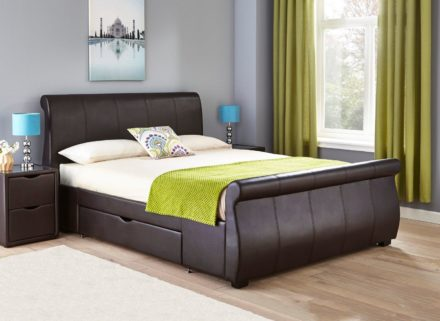 Lucia Brown Faux Leather Upholstered Bed Frame 6'0 Super king