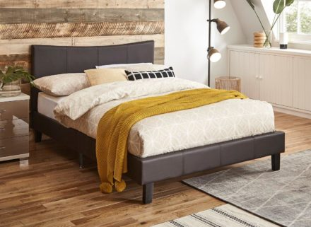 Jakarta Brown Faux Leather Bed Frame 4'6 Double
