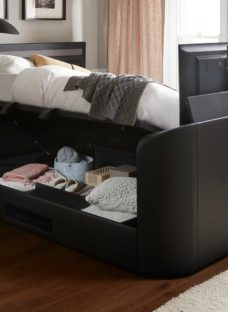 Tokyo Sk Ottoman Tv/Media Bed Black Leather 6'0 Super king