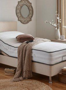 Westwood Mattress With Standard Oatmeal Adjustable Divan Bed On Legs - Medium Firm 5'0 King BEIGE