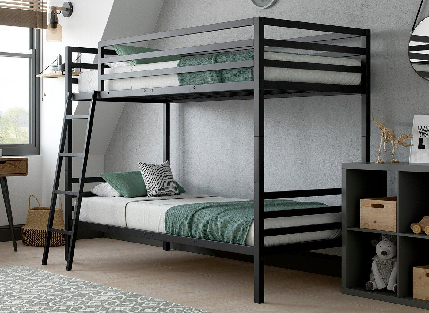 Picture of: Saturn Metal Bunk Bed Black Bed Sava