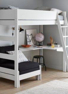 Anderson Desk High Sleeper With Black Chair WHITE