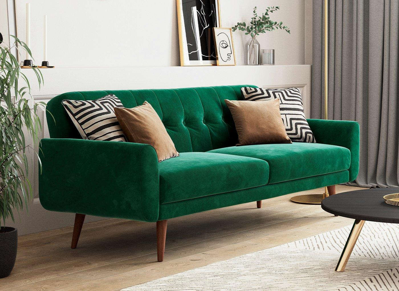Gallway 3 Seater Sofa Bed Forest Green Velvet Bed Sava