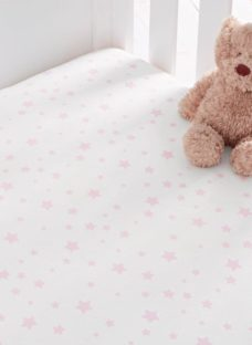 S'Night Printed Star Fitted Sheet Cotbed - Pink