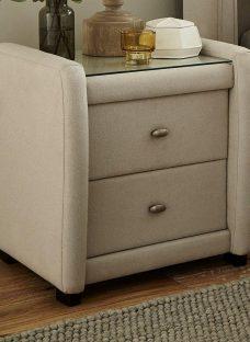 Deacon Velvet Upholstered 2 Drawer Bedside Chest Cream