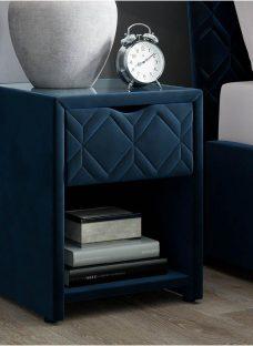 Neva Blue Bedside Table with USB