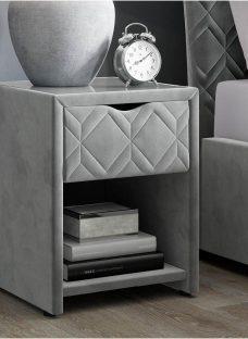 Neva Grey Bedside Table with USB