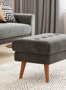 Gallway Footstool - Steel Grey Velvet
